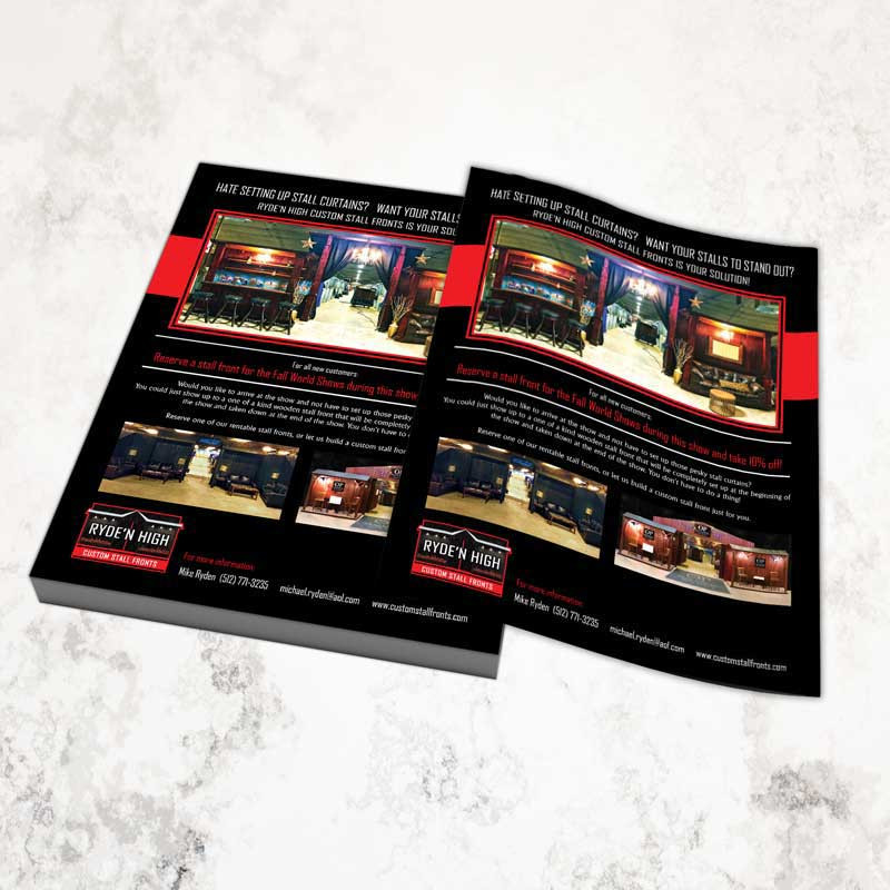 Ryde'N High Custom Stall Fronts Flyer